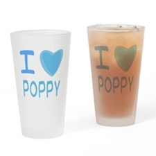 Blue I Heart (Love) Poppy Pint Glass