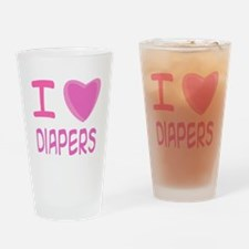 Pink I Heart (Love) Diaper Pint Glass