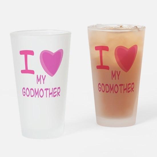 Pink I Heart (Love) Godmother Pint Glass