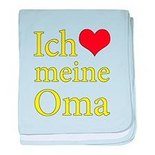 I Love Grandma (German) baby blanket