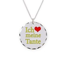 I Love Aunt (German) Necklace Circle Charm