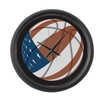 Flag basketball Large Wall Clock