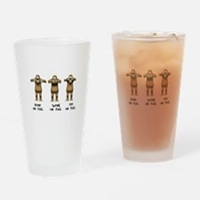 Hear No Evil Monkeys Pint Glass