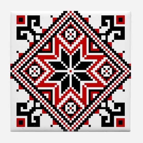 Folk Design 7 Tile Coaster