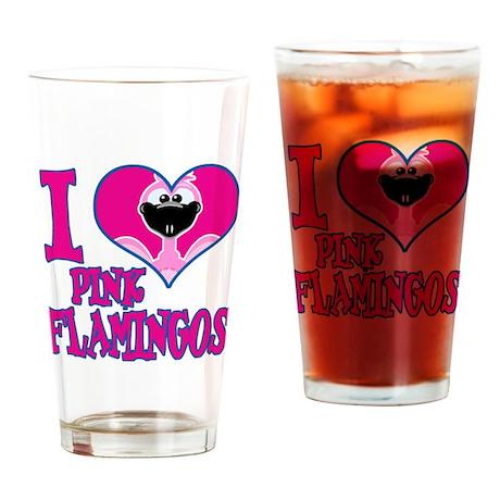 I Love (Heart) Pink Flamingos Pint Glass