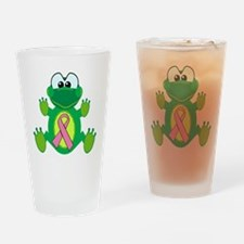 Pink Awareness Ribbon Frog Pint Glass