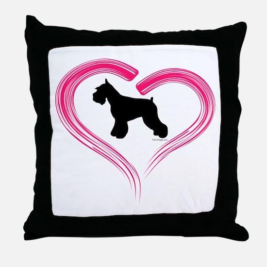 Heart My Schnauzer Throw Pillow