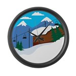 Ski lift Large Wall Clock