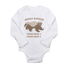 Personalize Honey Badger Long Sleeve Infant Bodysu