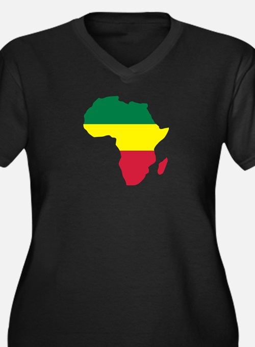 Africa Reggae Women's Plus Size V-Neck Dark T-Shir