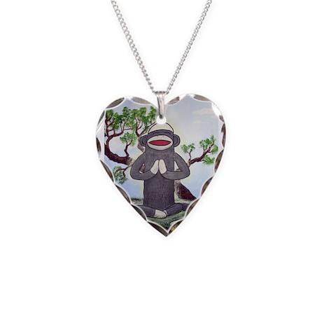 Sock Monkey Nirvana Necklace Heart Charm