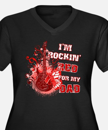 I'm Rockin' Red for my Dad Women's Plus Size V-Nec