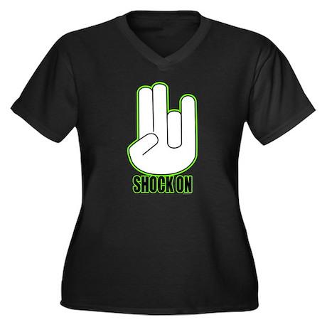 Shock on - Green Women's Plus Size V-Neck Dark T-S