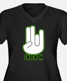 Shock on - Green Women's Plus Size V-Neck Dark T-S