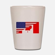 Canadian American Flag Shot Glass