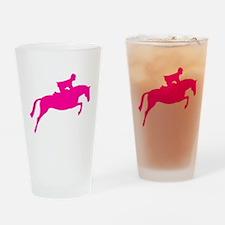 h/j horse & rider pink Pint Glass