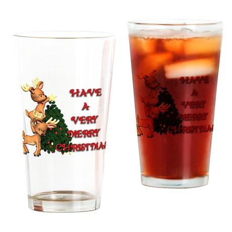 Reindeer Christmas Pint Glass