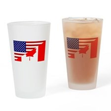Canadian American Flag Pint Glass