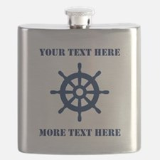 Custom Nautical Ship Logo Wheel Flask For Sailor