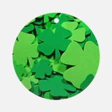 Lucky green clovers Round Ornament