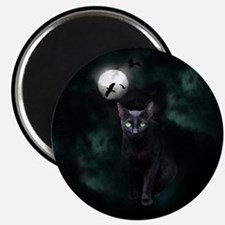 Cat under Full Moon Magnet