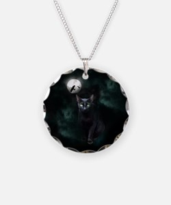 Cat under Full Moon Necklace