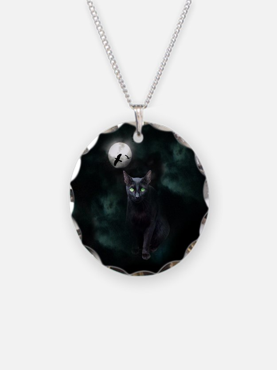 Cat under Full Moon Necklace
