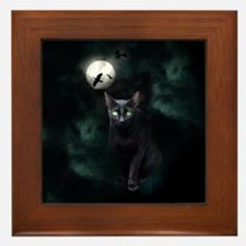 Cat under Full Moon Framed Tile