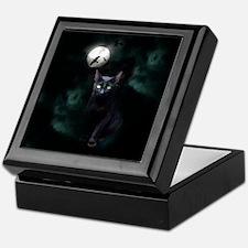 Cat under Full Moon Keepsake Box