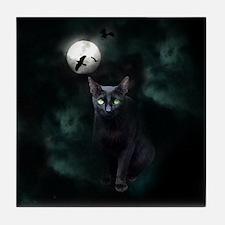 Cat under Full Moon Tile Coaster