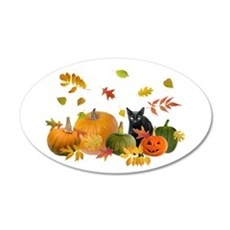 Black Cat Pumpkins 22x14 Oval Wall Peel