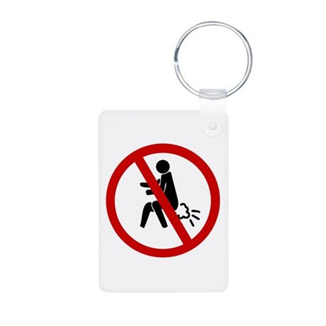 Funny NO Farting Sign Aluminum Photo Keychain