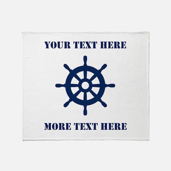 Custom Nautical Ship Wheel Logo Throw Blanket