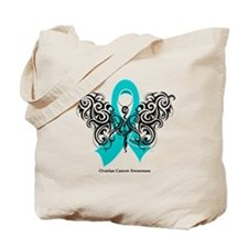 Ovarian Cancer Tribal Butterfly Tote Bag