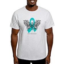 Ovarian Cancer Tribal Butterfly T-Shirt