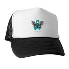 Ovarian Cancer Tribal Butterfly Trucker Hat