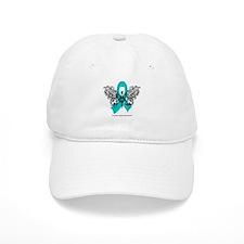 Ovarian Cancer Tribal Butterfly Baseball Cap