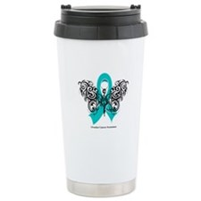 Ovarian Cancer Tribal Butterfly Travel Mug