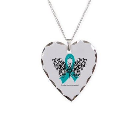 Ovarian Cancer Tribal Butterfly Necklace Heart Cha