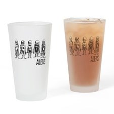 Hand Sketched Aliens Pint Glass