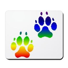 """Rainbow Paw Prints"" Mousepad"
