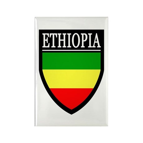 Ethiopia Flag Patch Rectangle Magnet (10 pack)