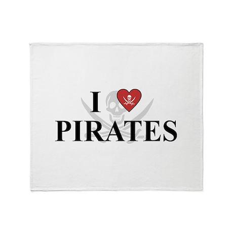 I Love Pirates Throw Blanket
