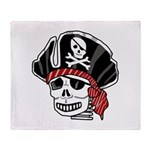 Skeleton Pirate Throw Blanket