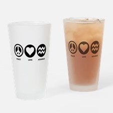Peace Love Aquarius Pint Glass