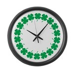 Shamrocks Large Wall Clock