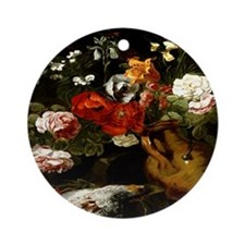 Flowers in an Earthenware Vas Ornament (Round)