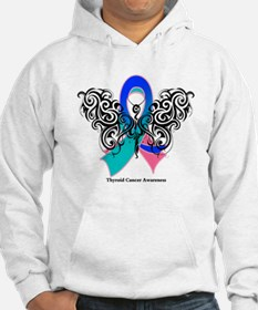 Thyroid Cancer Tribal Butterfly Hoodie