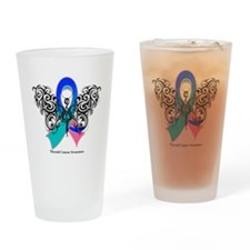 Thyroid Cancer Tribal Butterfly Pint Glass
