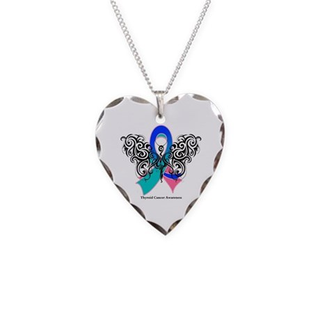 Thyroid Cancer Tribal Butterfly Necklace Heart Cha
